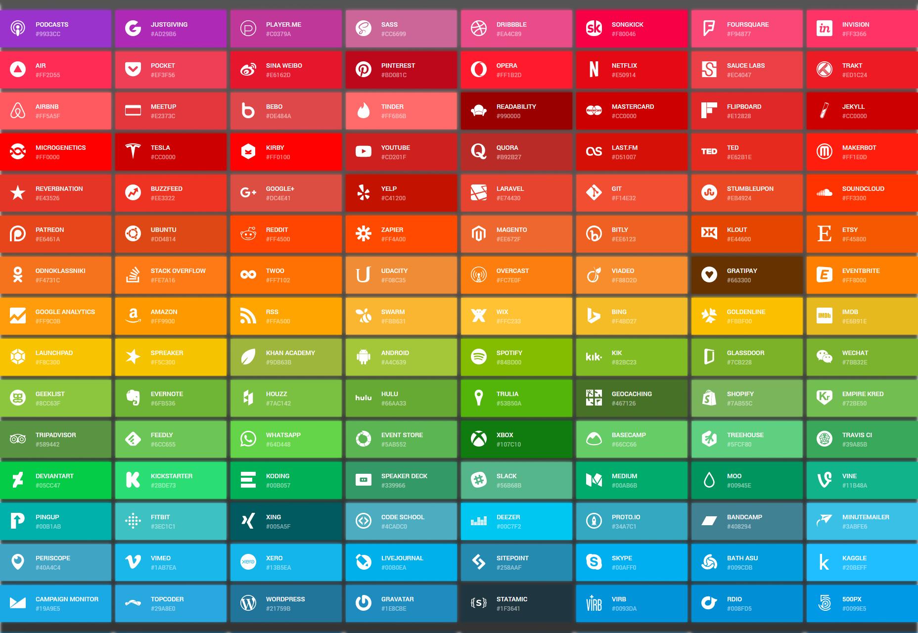 Iconos simples: una colección de iconos SVG y colores respectivos