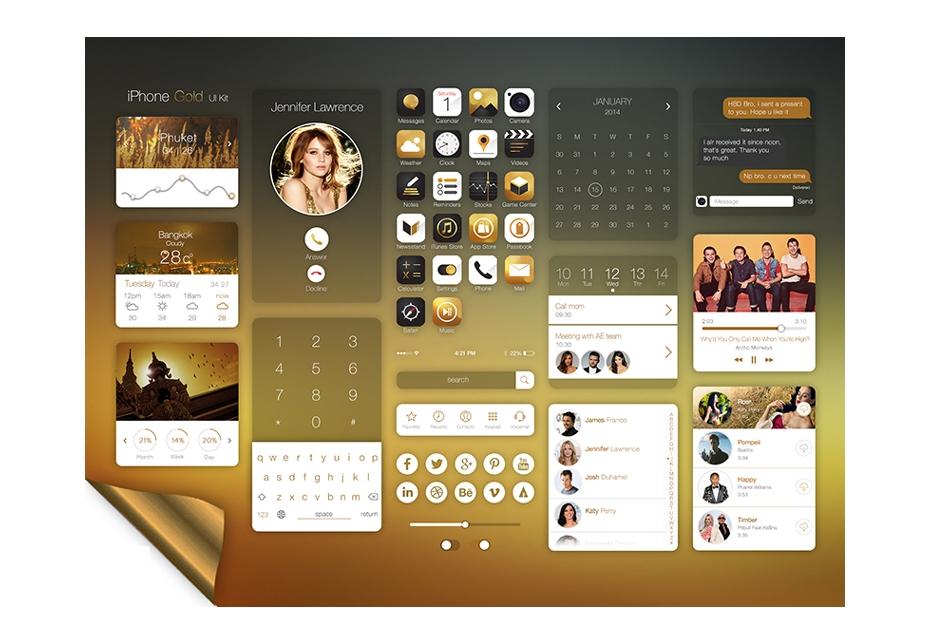 Kit de interfaz de usuario de oro de iPhone