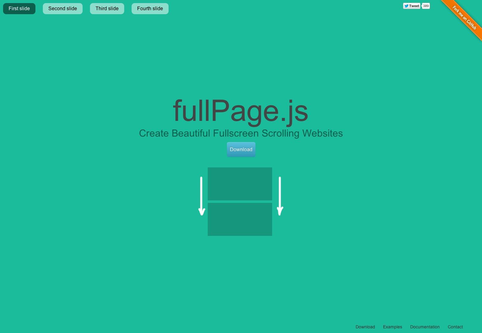 fullPage.js Stránky pro rolování jedné stránky