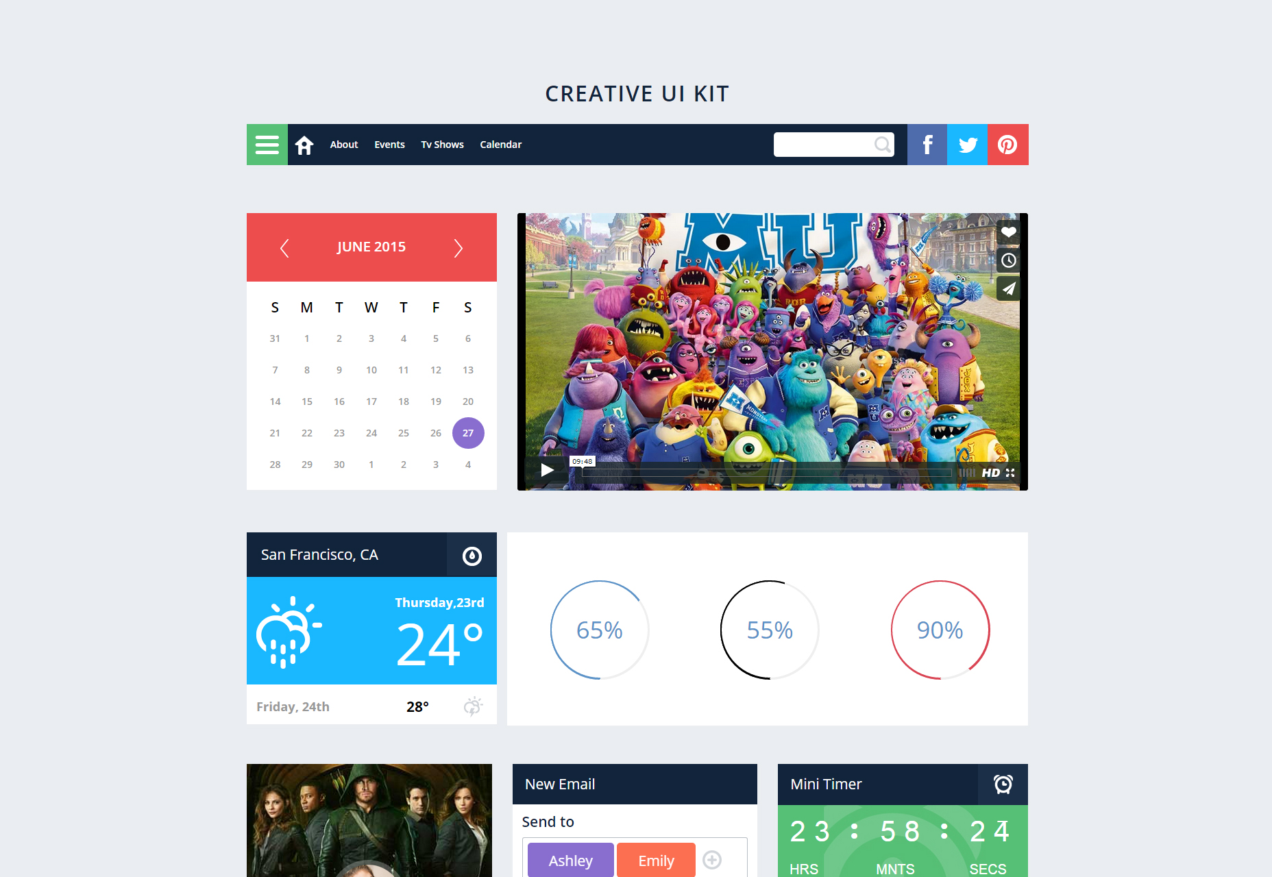 Creative UI Kit: een responsieve websjabloon voor platte opstartvluchten