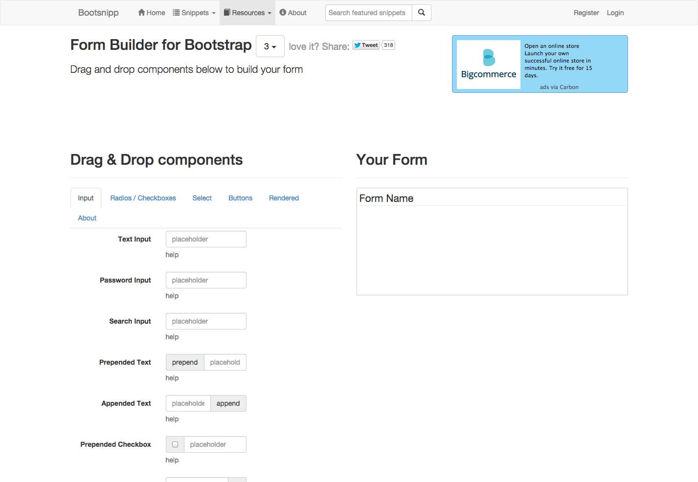 generador de formularios bootsnip
