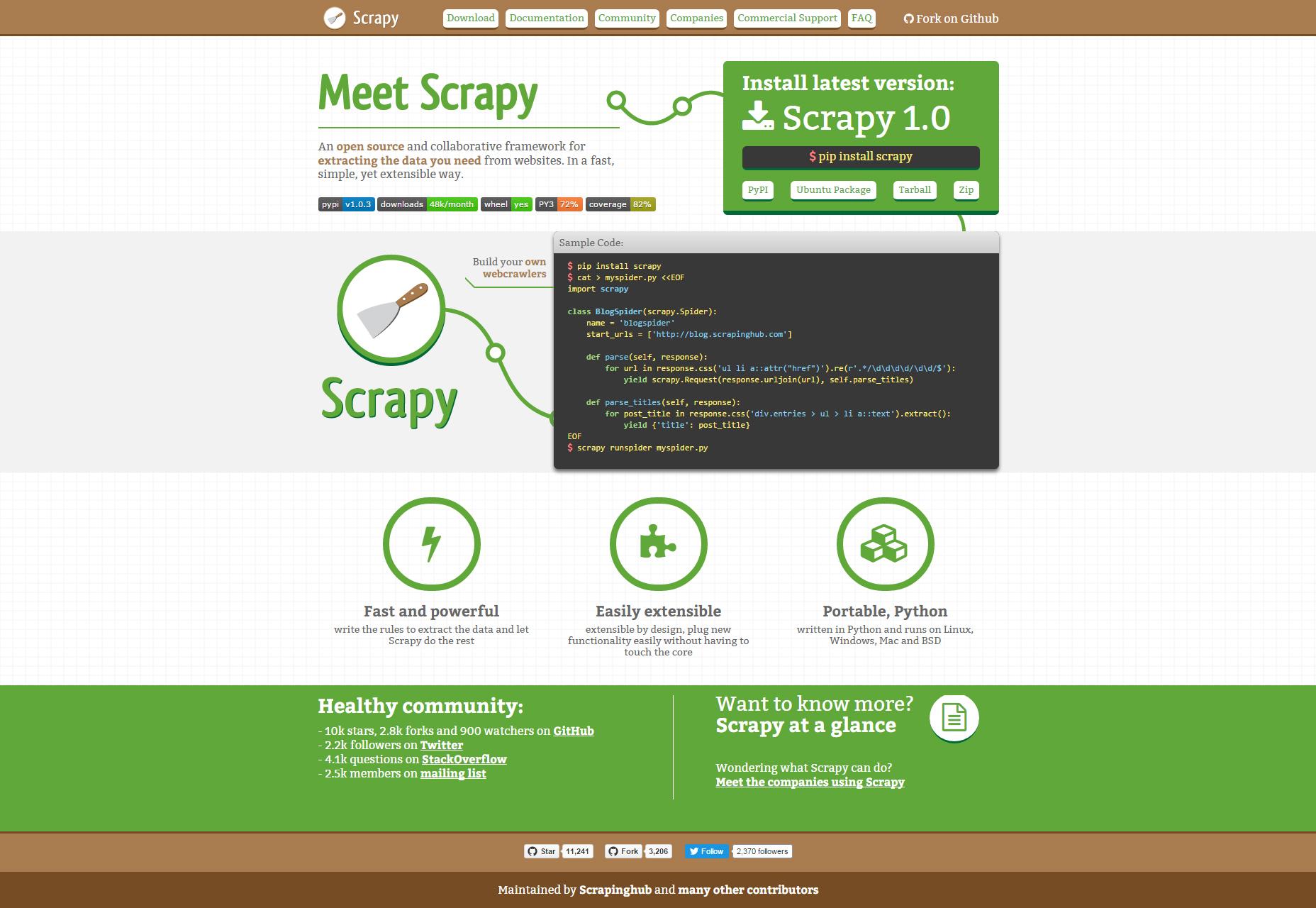Scrapy: potente estructura de raspado y rastreo web