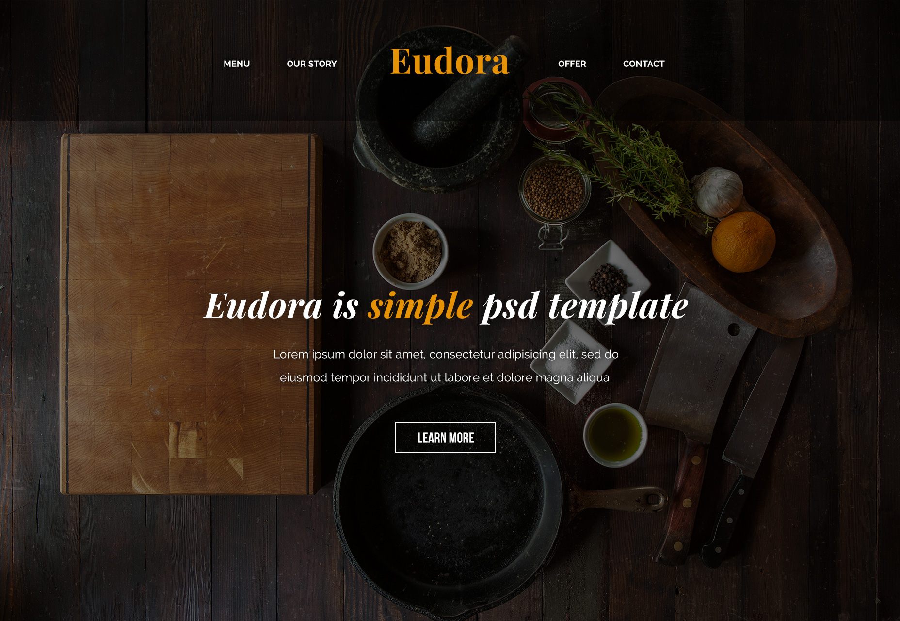 Eudora: Plantilla web de PSD relacionada con los alimentos