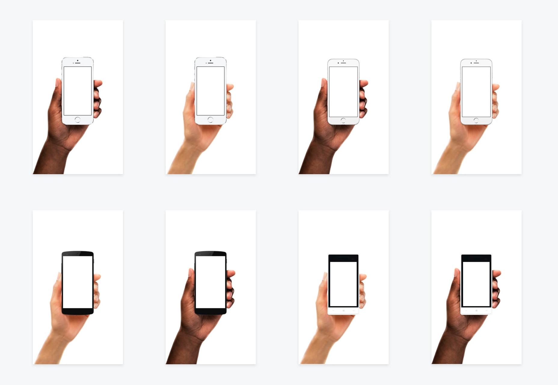 Diversas manos de dispositivos: maquetas móviles fotorrealistas