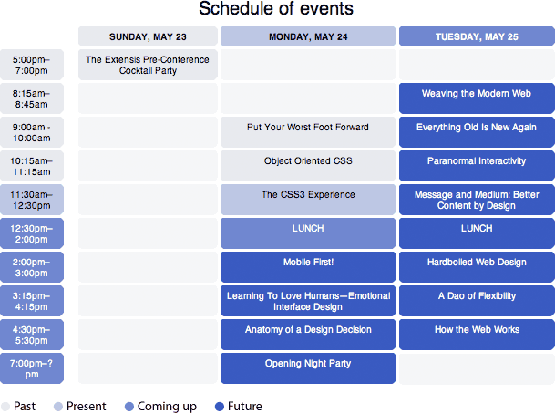 un evento separado horario