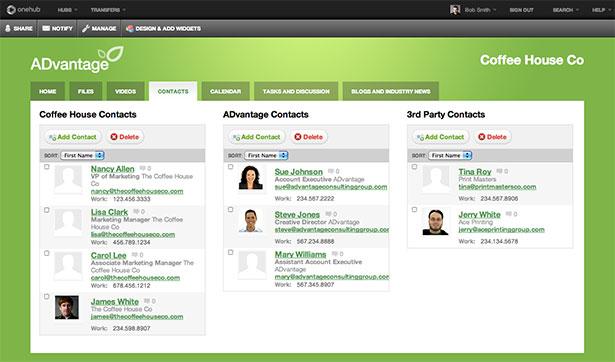 Interfaz de la aplicación Onehub