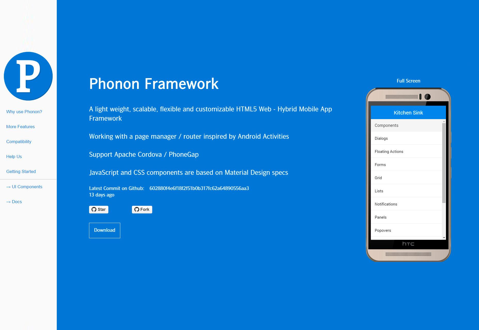 Phonon: Ligero HTML5 Mobile Framework