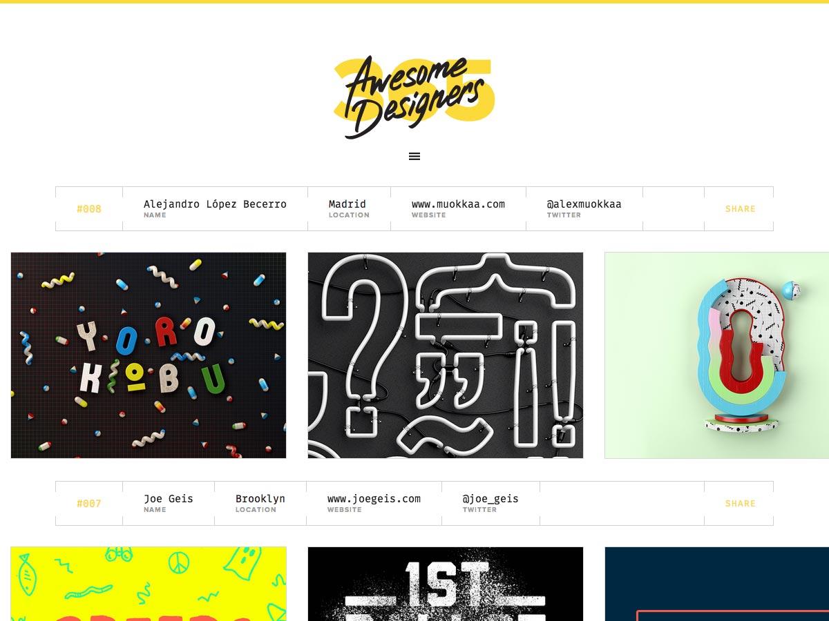 365 increíbles diseñadores