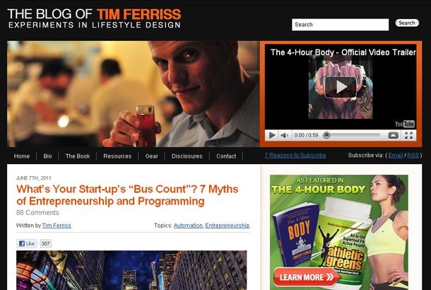Video del blog de Tim Ferriss