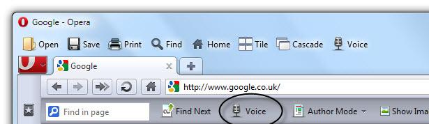 Prohlížeče Opera postavené v čtečce obrazovky.