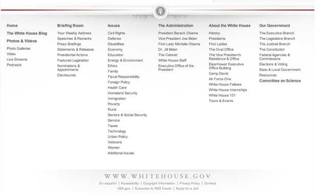 captura de pantalla del pie de página de la casa blanca