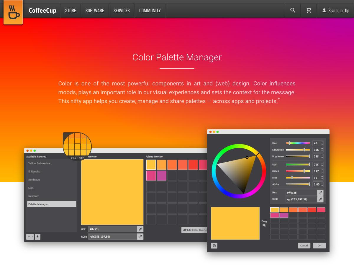 gestor de paleta de colores