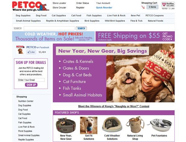 Sitio web completo de Petco