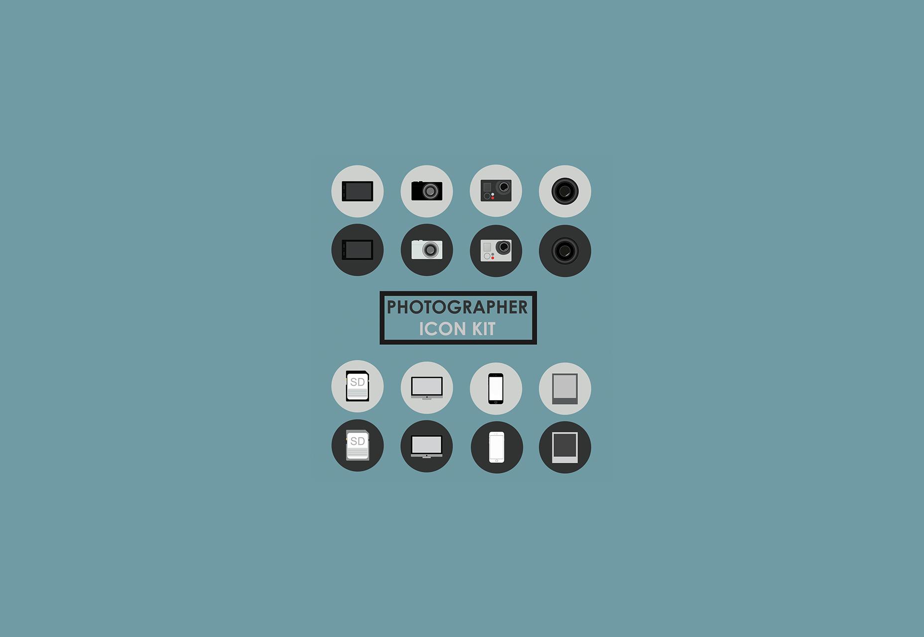 Kit de iconos de PSD de fotógrafo gratis