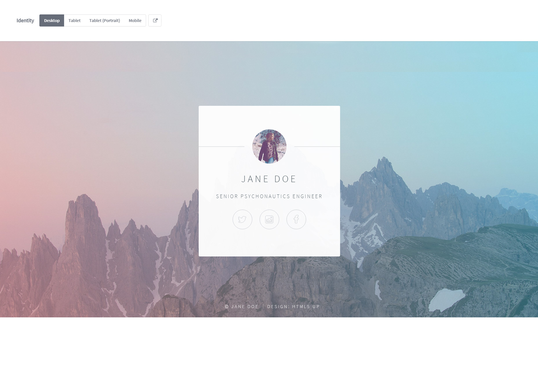 Identidad: una plantilla HTML de tarjeta de identificación mínima