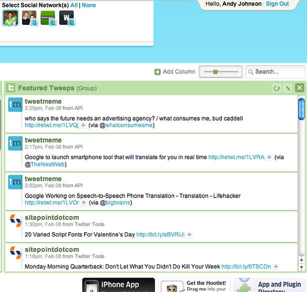 Interfaz de la aplicación HootSuite