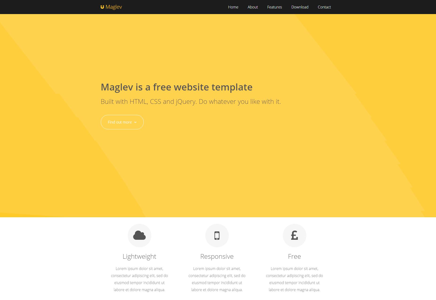 Maglev: Plochá přizpůsobitelná šablona HTML