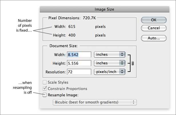 Cuadro de diálogo de tamaño de imagen de Photoshop con remuestreo desactivado