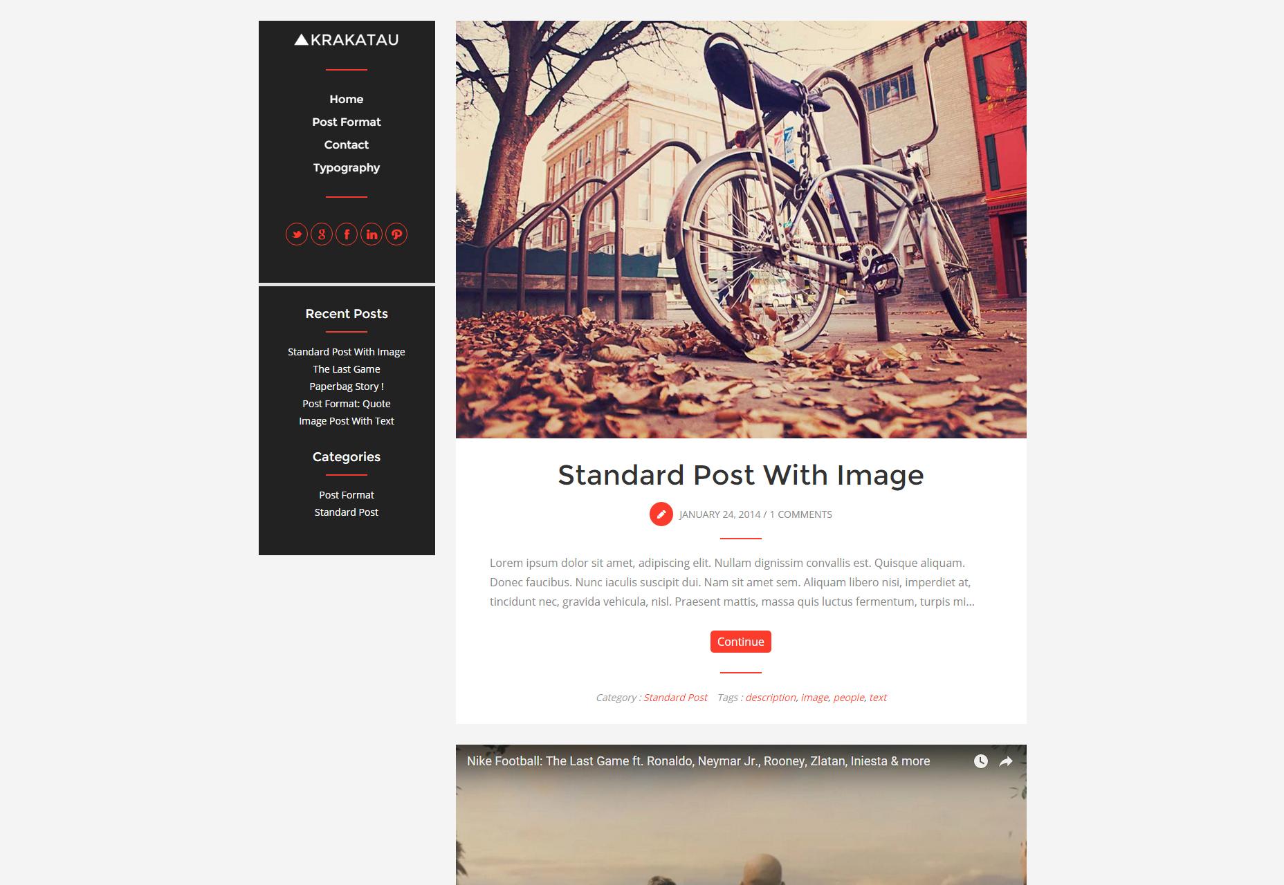 Krakatau: Modern en schoon bloggen WordPress Theme