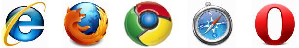 Ikony aplikace Internet Explorer, Firefox, Chrome, Safari a Opera.