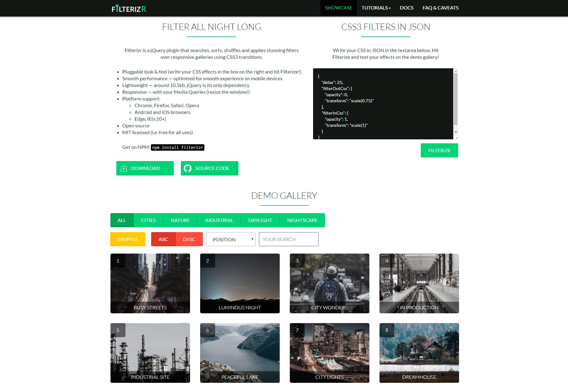 Filterizr: filtros personalizados de las galerías receptivas