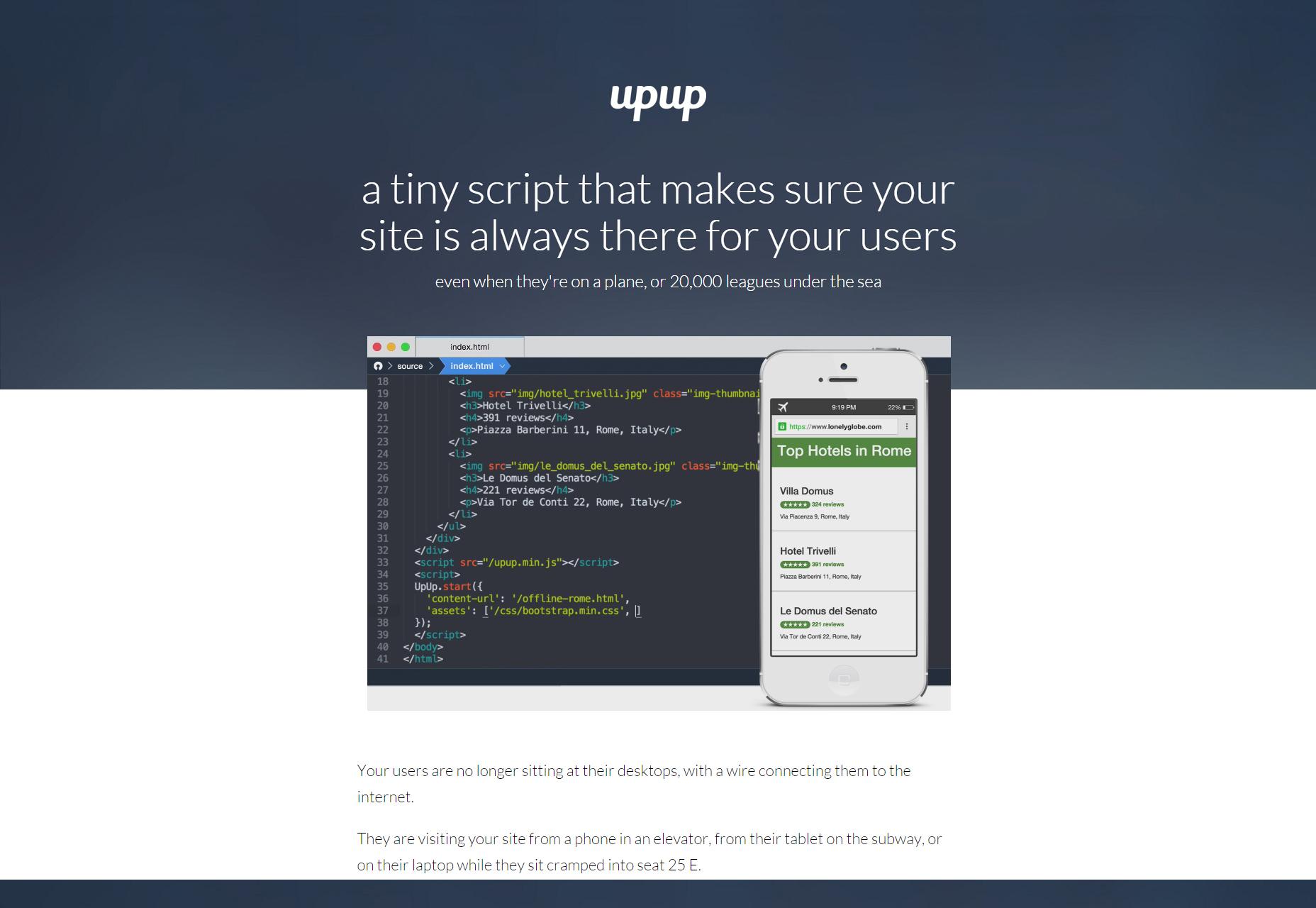 UpUp: Biblioteca de navegación fuera de línea