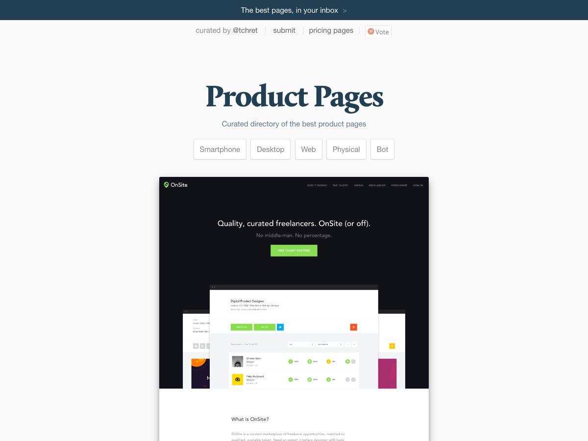 páginas de productos