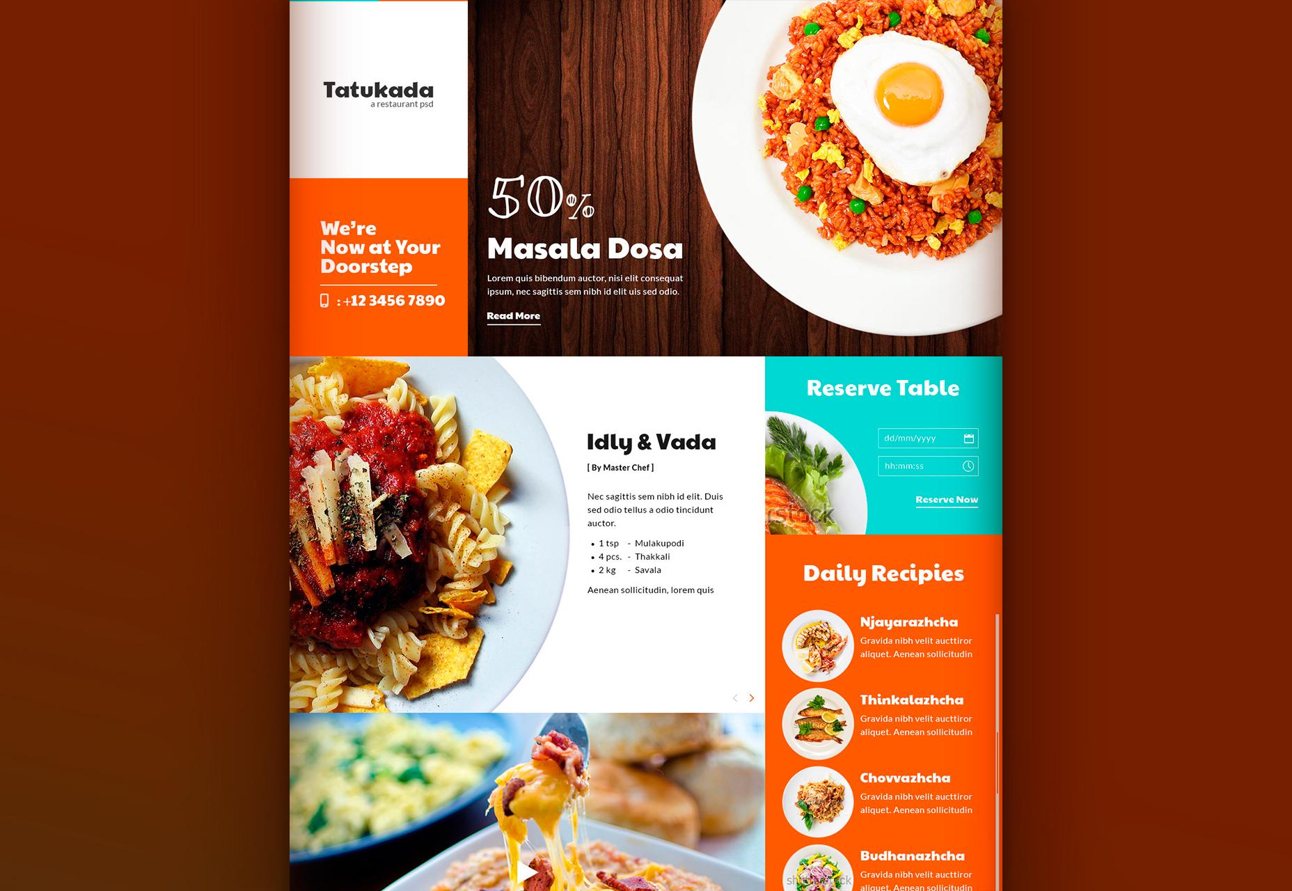 Tatukada: Plochá webová šablona na webovou restauraci