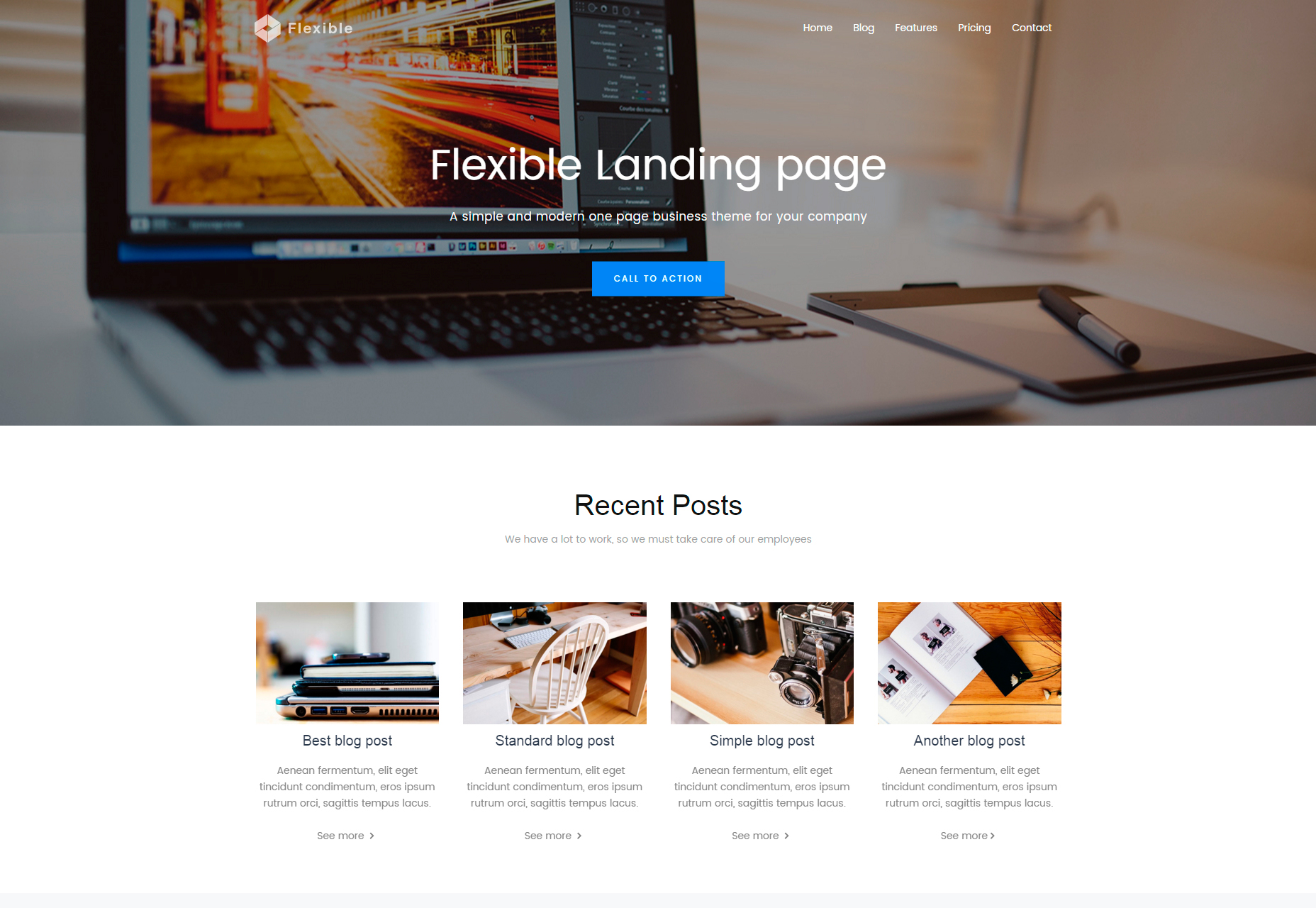 Flexible: Limpie la página de destino de Bootstrap