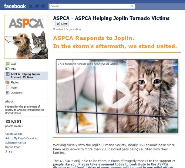 Campaña de Facebook Joplin Tornado de ASPCA
