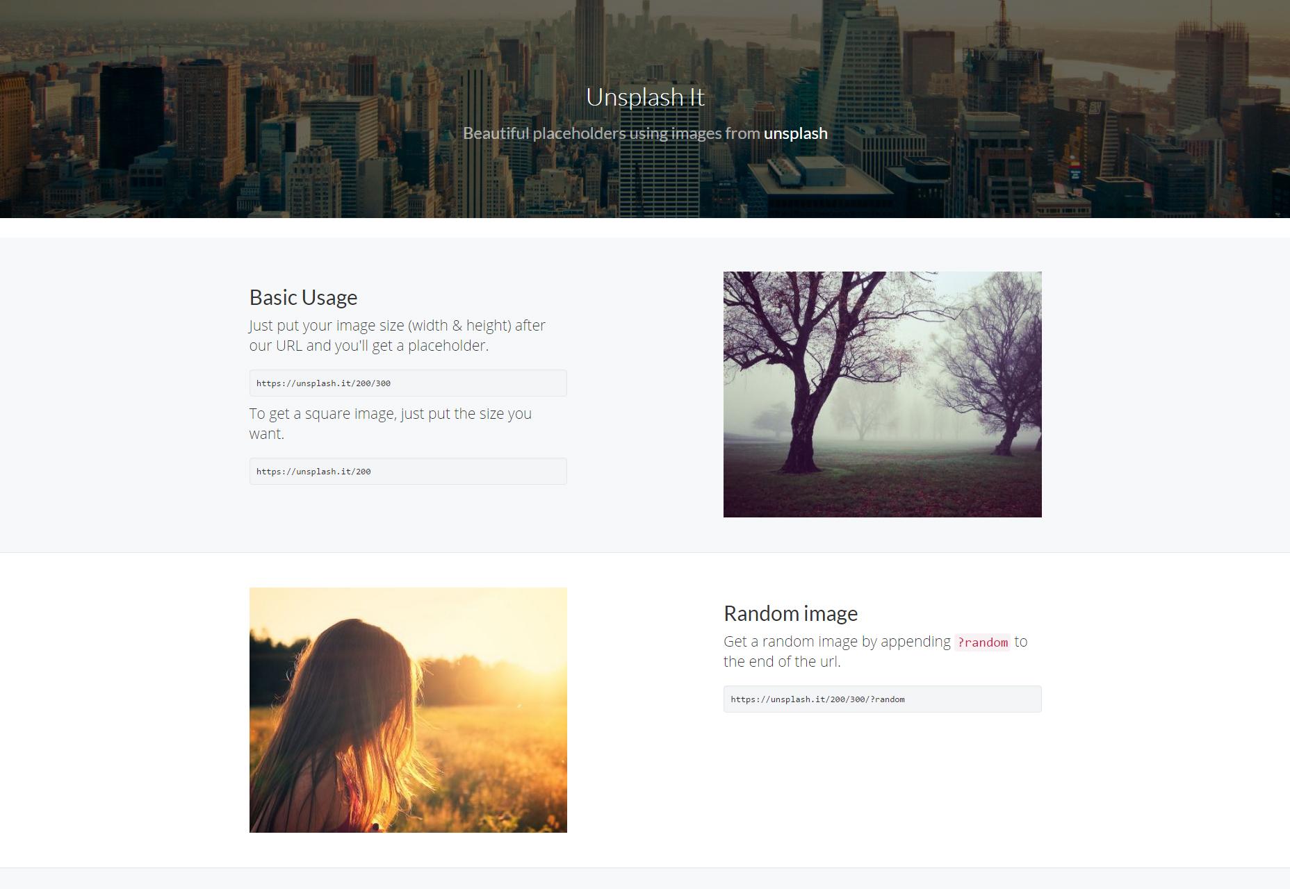 Unsplash It: Image Placeholders One-line URL