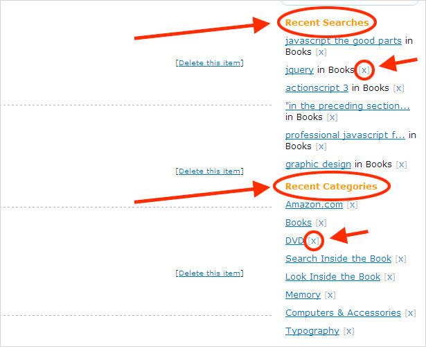Searches and Categories in Sidebar History