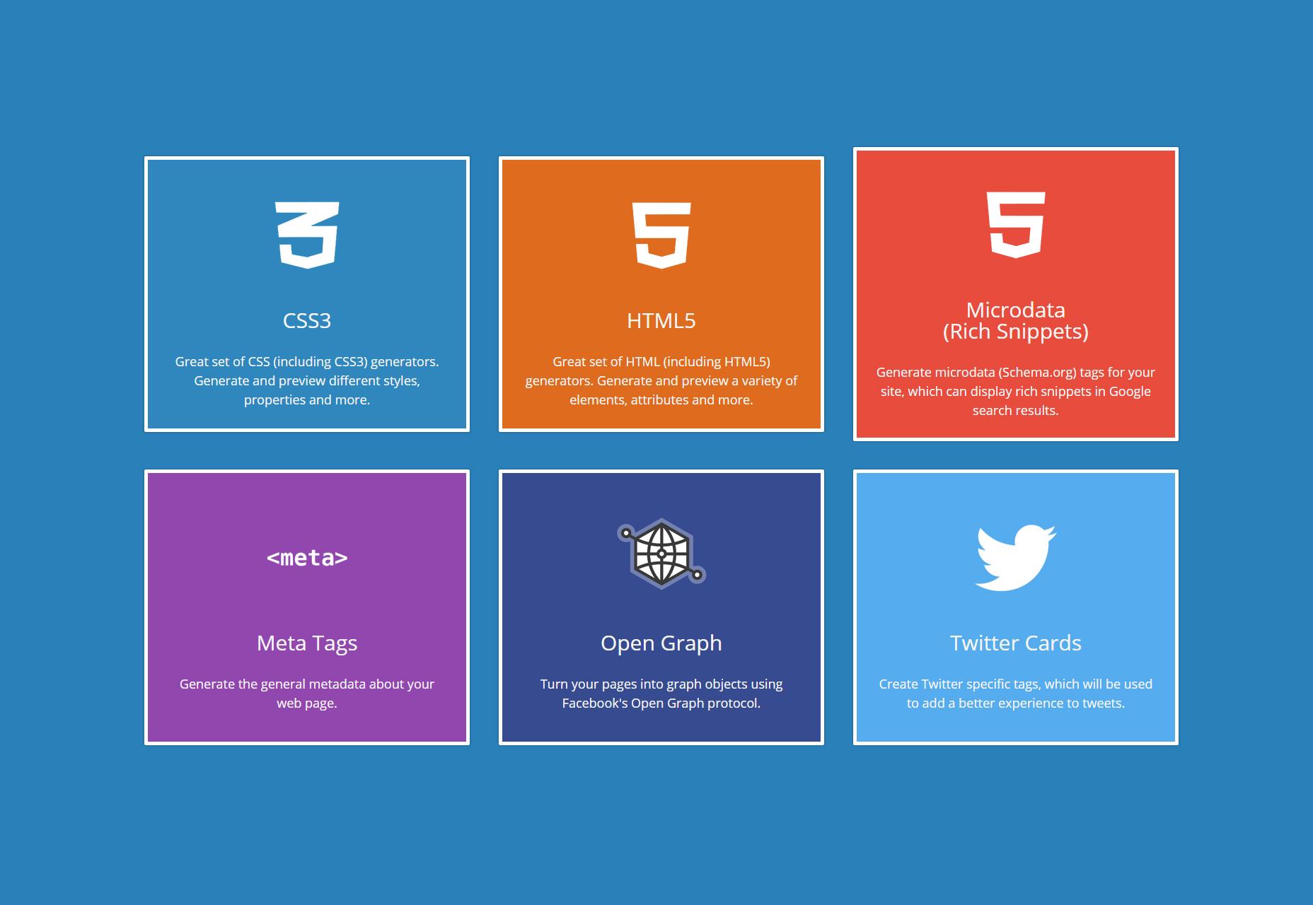 CSS3, HTML5, Microdata, Open Graph en Twitter Code Generators