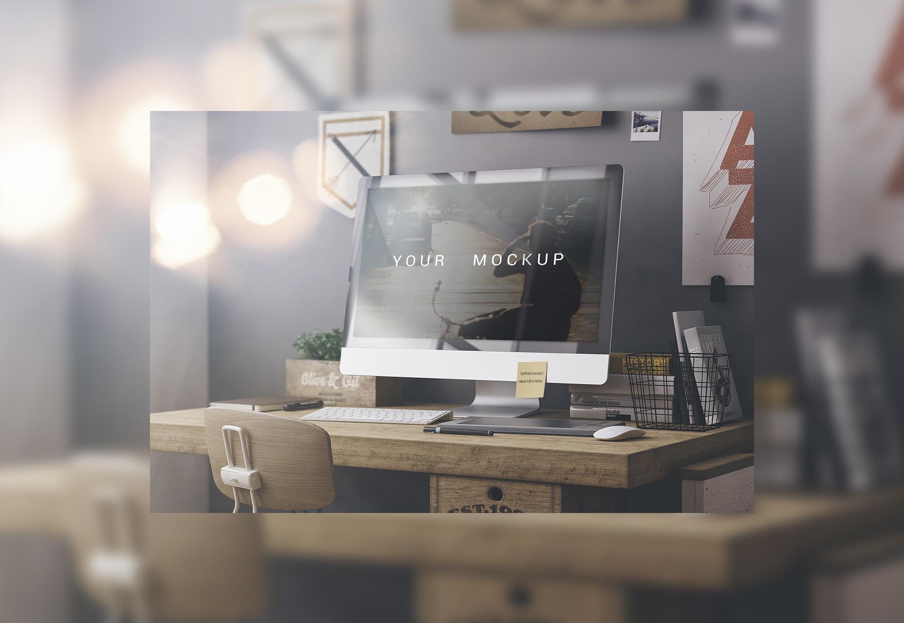 IMac PSD Web Mockup met hoge resolutie