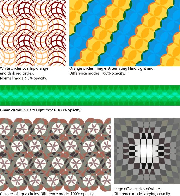 varios ejemplos de patrones coloridos
