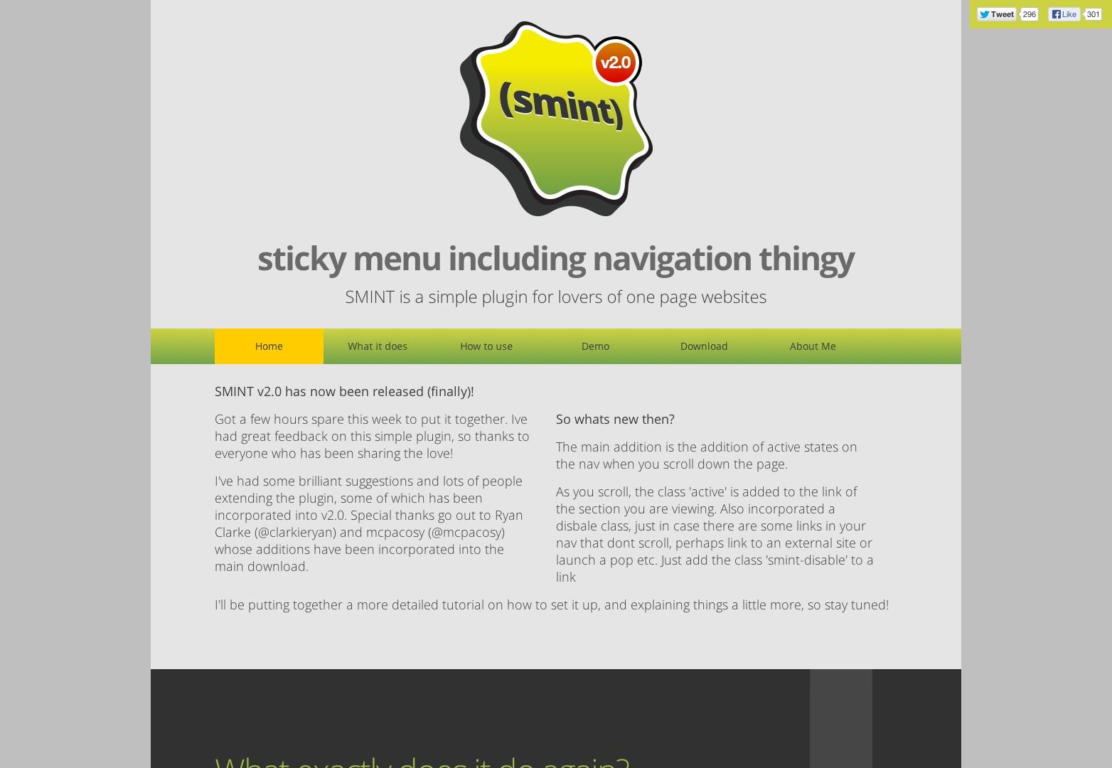 SMINT | Jednoduchý plugin jQuery pro milovníky stránek na jedné stránce.
