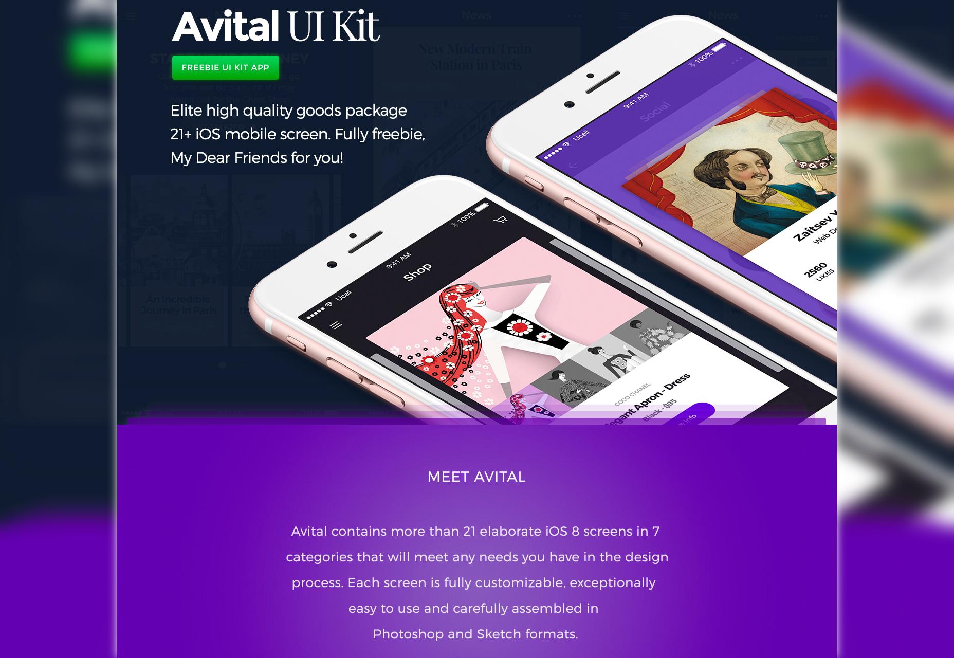 Avital: Elite Mobile iOS UI Kit