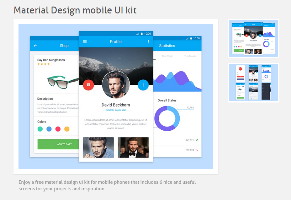 Material Design UI móvil Kit