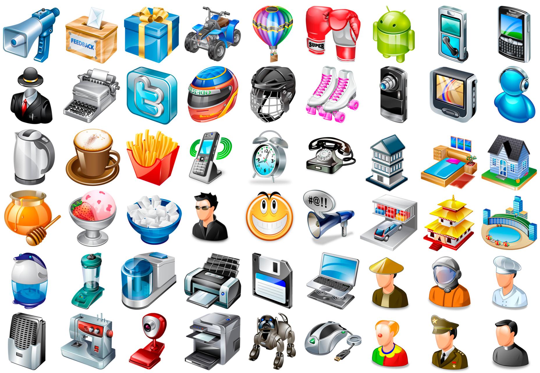 Paquete de iconos de escritorio realista de 91 k