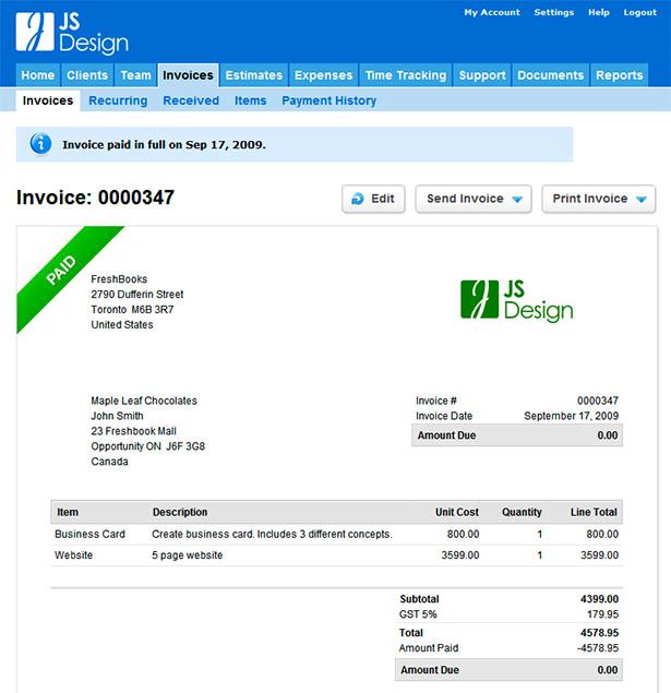 Interfaz de la aplicación Freshbooks
