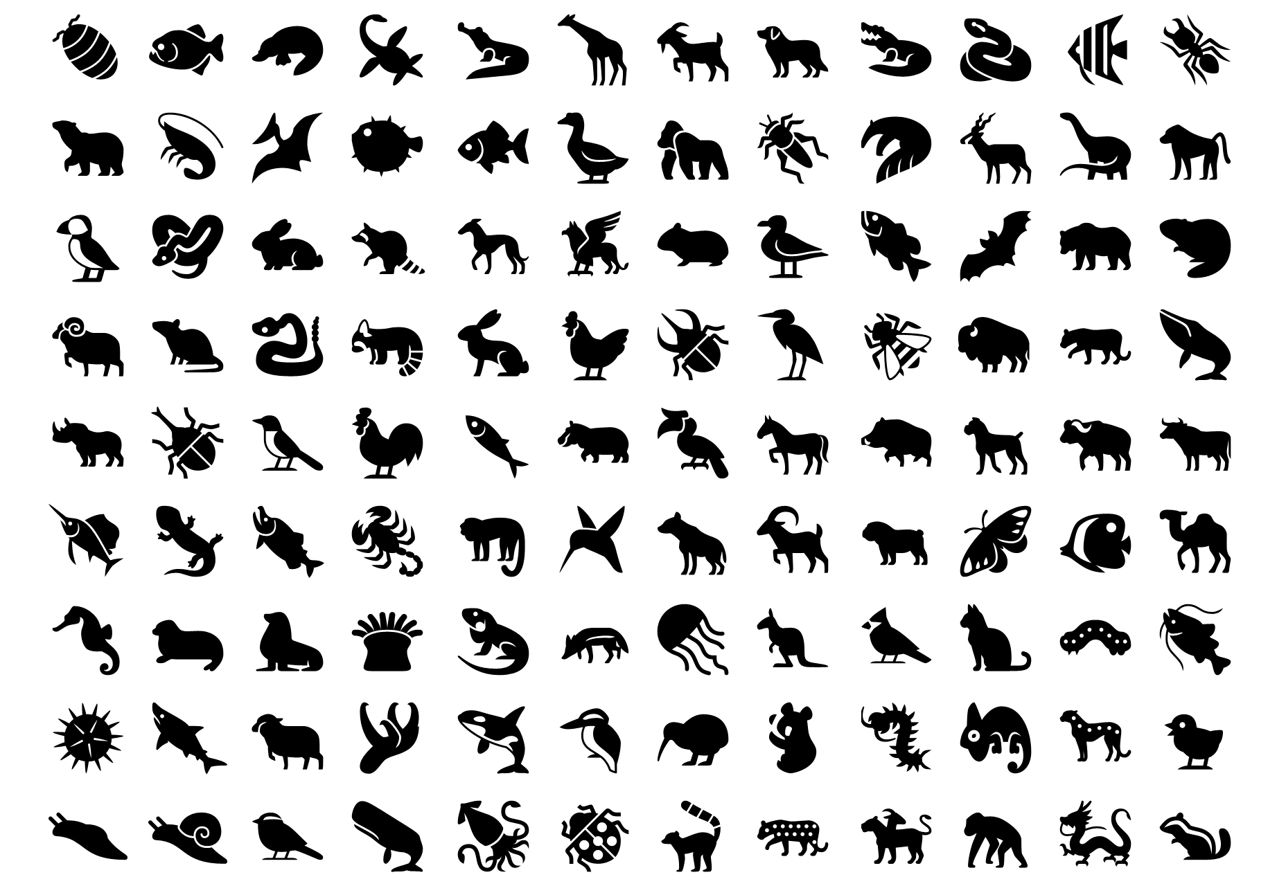 Conjunto de iconos de vectores de animales de iPhone