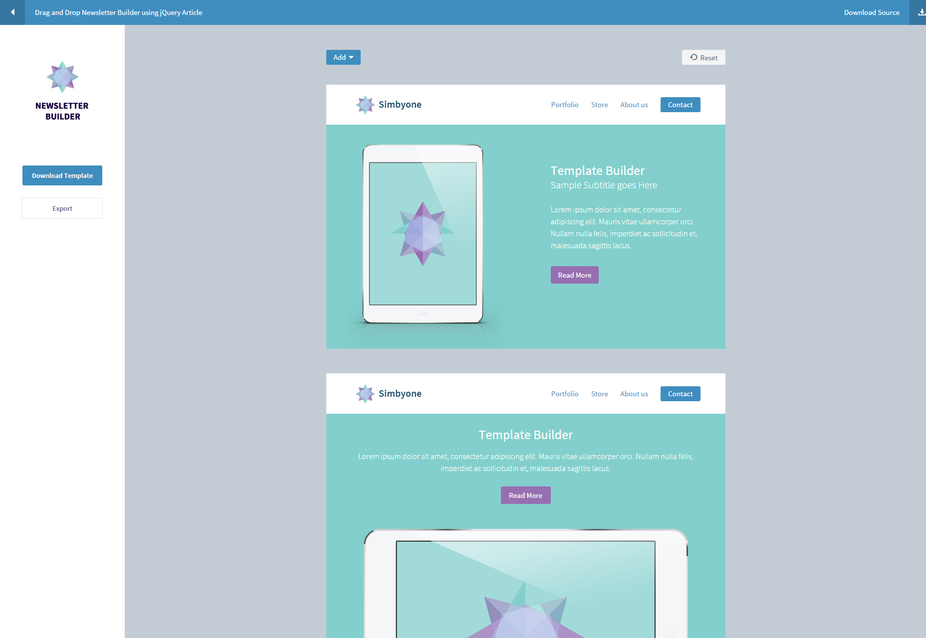 jQuery Drag and Drop Newsletter Builder
