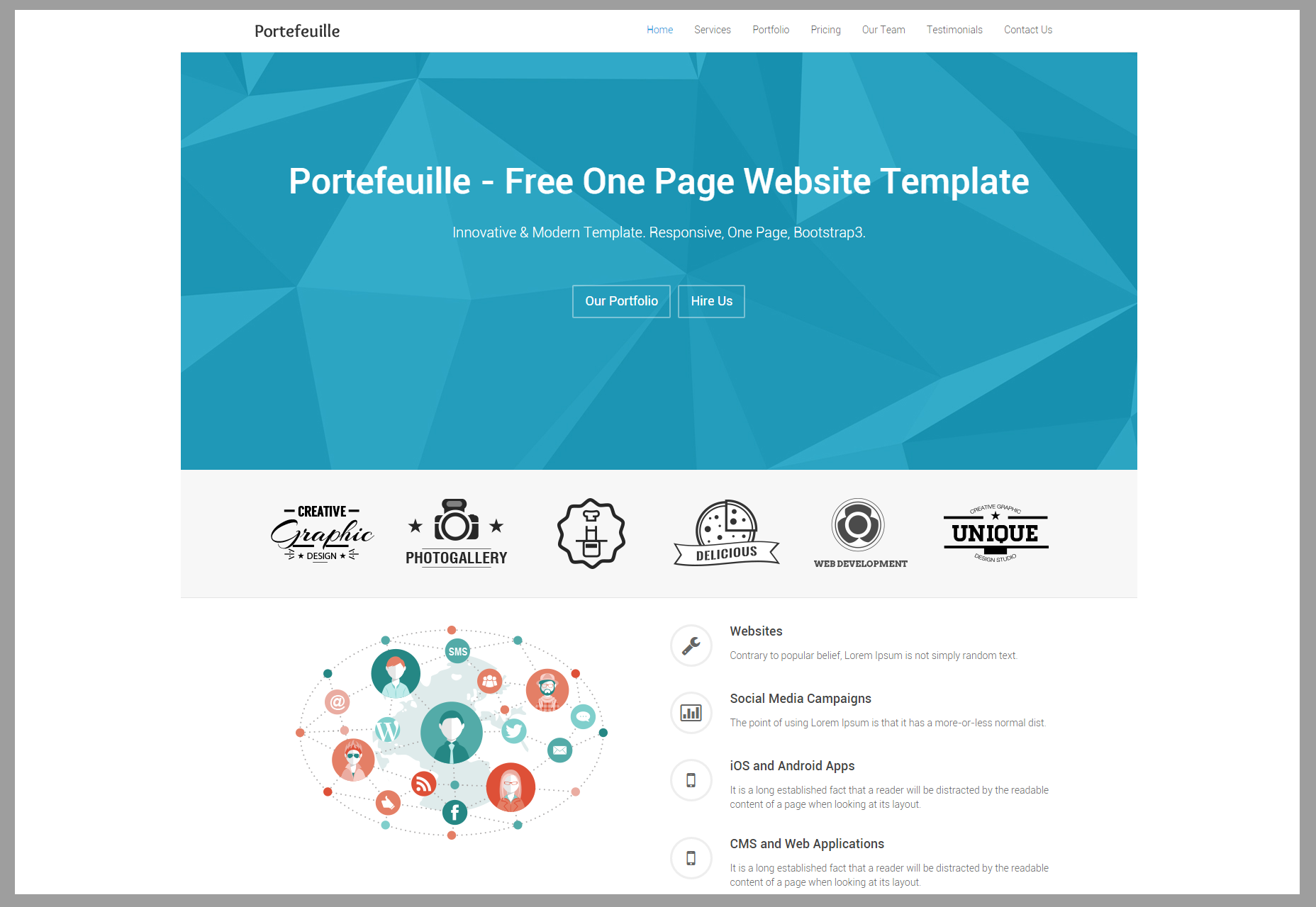 Portefeuille: HTML-thema van één pagina in portfolio