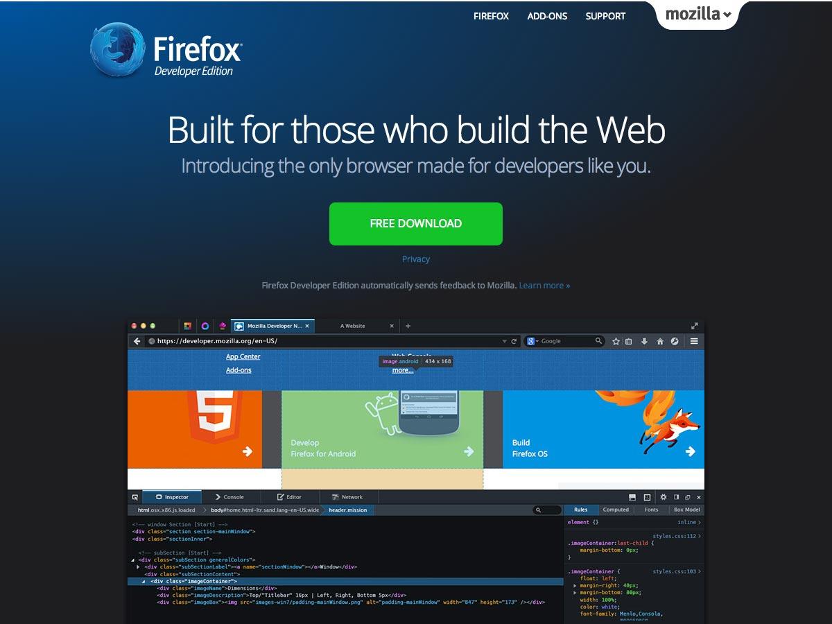 edición de desarrollador de firefox