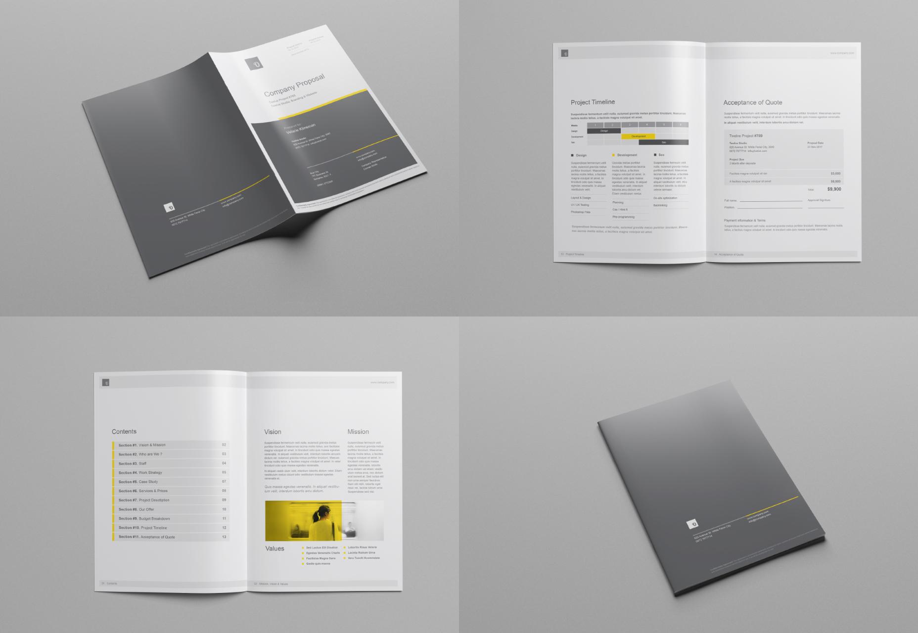 Conjunto de maquetas de folleto de propuesta de empresa