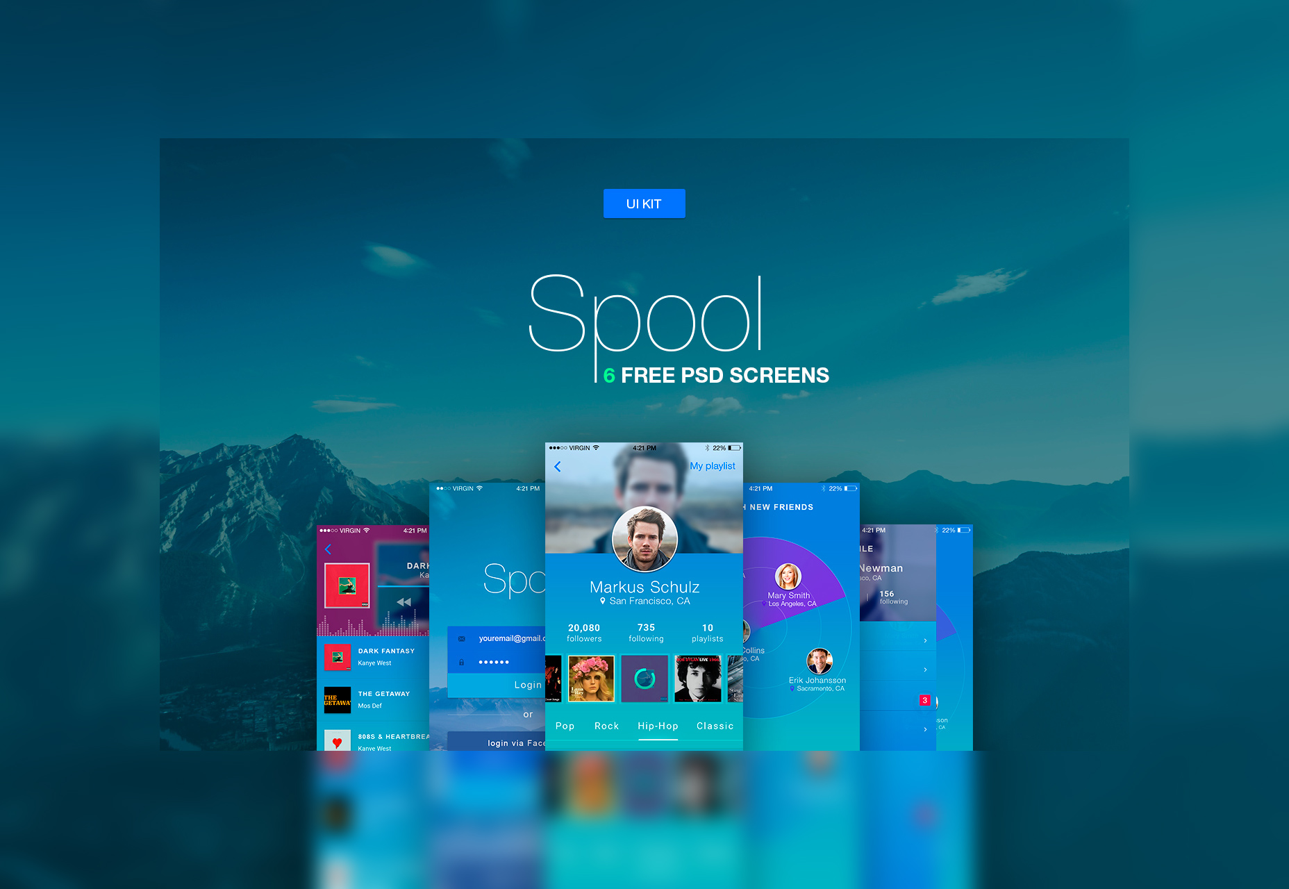 Spool: iPhone-materiaalontwerp UI Kit PSD