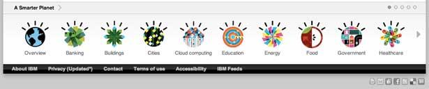 screenshot van het slimmere planet footer van IBM