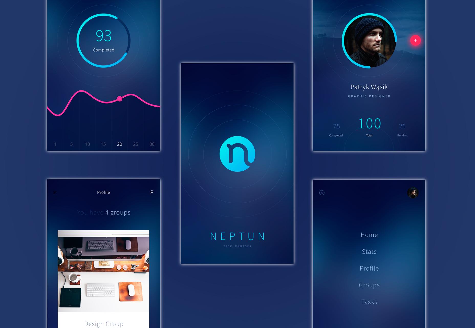 Neptun: Modern & Minimal Mobile -näytöt PSD Kit