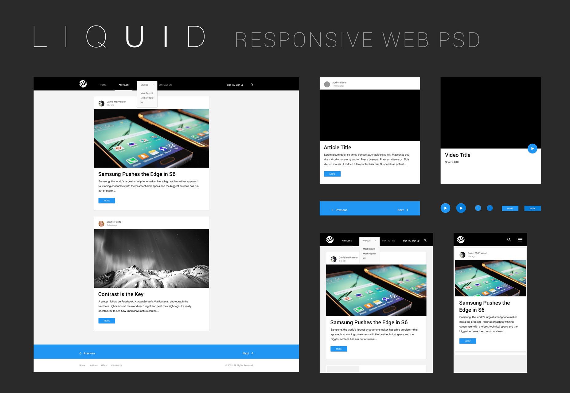 Líquido: Un kit limpio de interfaz de usuario web de PSD