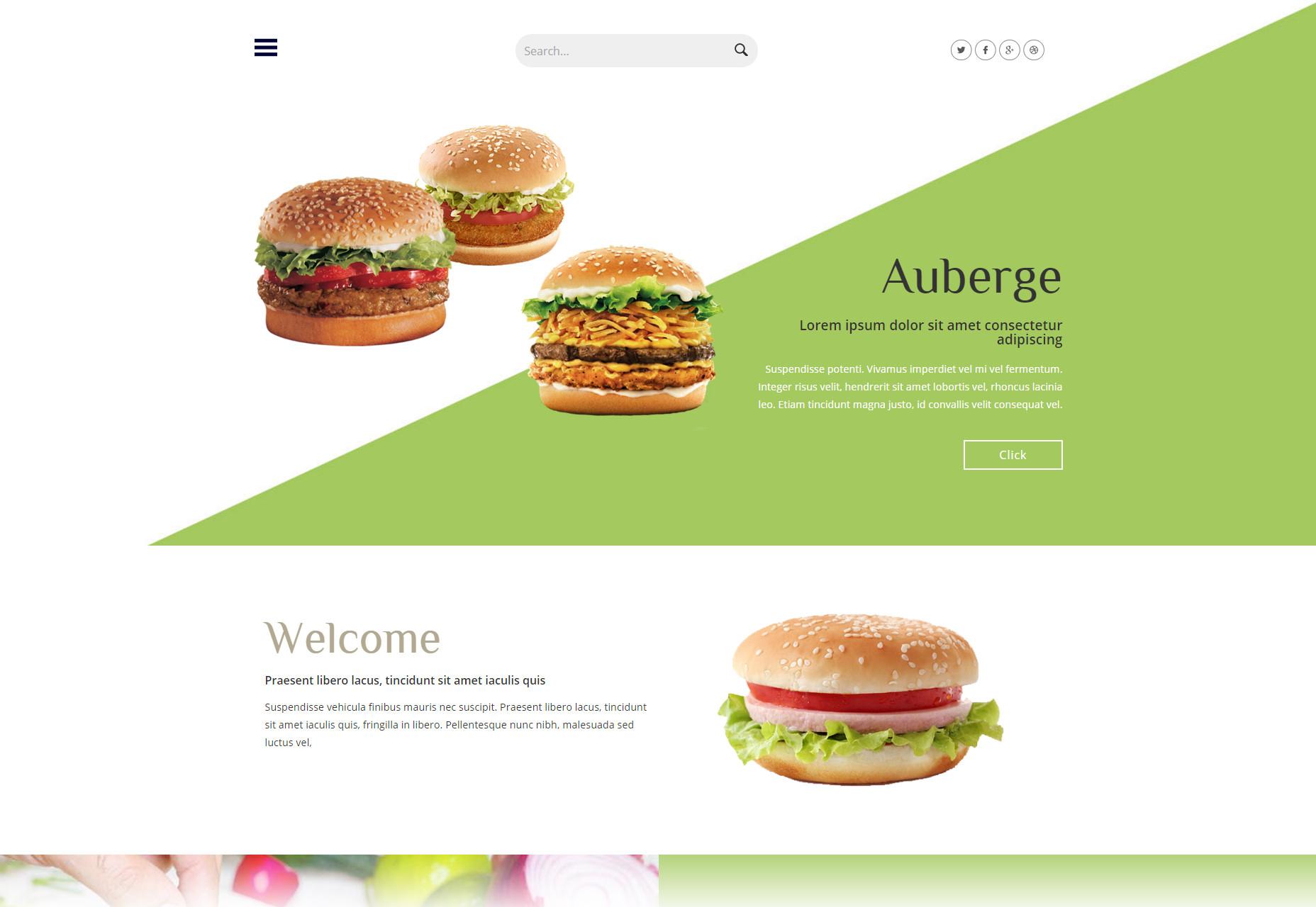Auberge: Plantilla web del restaurante del hotel Flat Bootstrap
